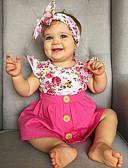 cheap Girls' Clothing Sets-Toddler Girls' Active Daily / Holiday Floral Ruffle / Print Short Sleeve Regular Regular Cotton / Polyester Clothing Set Pink / Cute