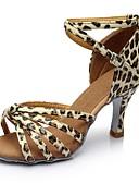 זול שמלות נשים-בגדי ריקוד נשים נעליים לטיניות דמוי עור סנדלים / עקבים שחבור עקב מותאם מותאם אישית נעלי ריקוד נמר / בבית
