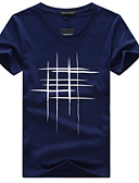 お買い得  メンズTシャツ&タンクトップ-男性用 プラスサイズ Tシャツ 活発的 / ベーシック ラウンドネック スリム 幾何学模様 コットン / 半袖