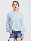 abordables Camisas y Camisetas para Mujer-Mujer Camiseta Corte Ancho Un Color Manga Tulipán Poliéster