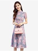tanie Swetry damskie-Damskie Rozmiar plus Wzornictwo chińskie Szczupła Pochwa Sukienka - Kwiaty Stójka Midi