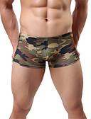 hesapli Egzotik Erkek İç Giyimi-Erkek Normal Sexy Boxerlar - Temel, kamuflaj Düşük Bel Ordu Yeşili L XL XXL
