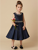 cheap Flower Girl Dresses-A-Line Knee Length Flower Girl Dress - Taffeta Sleeveless Jewel Neck with Beading / Crystal Brooch by LAN TING BRIDE®