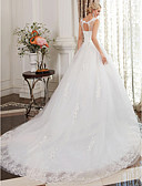 cheap Wedding Dresses-Ball Gown Scoop Neck Cathedral Train Satin / Lace Over Tulle Made-To-Measure Wedding Dresses with Beading / Lace by LAN TING BRIDE®