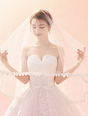 tanie Welony ślubne-Jednowarstwowy Ponadczasowa klasyka / Szykowne i nowoczesne Welony ślubne Welony kościelne Z Haft Tiul / Klasyczny