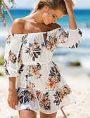 baratos Vestidos Longos-Mulheres Feriado Moda de Rua Bainha Vestido Floral Decote Canoa Acima do Joelho