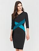 povoljno Ženske haljine-Žene Veći konfekcijski brojevi Rad Pamuk Slim Bodycon Haljina Color block Kolaž V izrez Do koljena