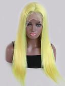 hesapli Lüks Saatler-Kökten Saç Ön Dantel Peruk stil Düz Brezilya Saçı Düz Sarışın Peruk % 130 Saç yoğunluğu Bebek Saçlı Doğal saç çizgisi Sarışın Kadın's Şort Uzun Gerçek Saç Örme Peruklar Guanyuwigs