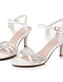 preiswerte Hochzeitskleider-Damen Schuhe Kunstleder Sommer Komfort Sandalen Stöckelabsatz Offene Spitze Schnalle Weiß / Rosa / Party & Festivität