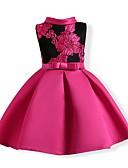 זול שמלות לבנות-שמלה ללא שרוולים רקום פרחוני / קולור בלוק Party פעיל בנות ילדים / כותנה / חמוד