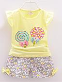 Χαμηλού Κόστους Βρεφικά σετ ρούχων-Μωρό Κοριτσίστικα Καθημερινό Καθημερινά Στάμπα Κοντομάνικο Βαμβάκι Σετ Ρούχων Ανθισμένο Ροζ / Νήπιο