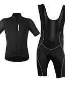 preiswerte Bluse-WOSAWE Herrn Kurzarm Fahrradtrikot mit Trägerhosen - Weiß / Schwarz Fahhrad Kleidungs-Sets, Atmungsaktiv, Reflexstreiffen / Hochelastisch