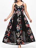 tanie Sukienki-Damskie Puszysta Boho Bawełna Swing Sukienka - Kwiaty / Kolorowy blok Pasek Midi / Lato / Wzory kwiatów