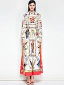 cheap Women's Dresses-Mary Yan & Yu Women's Plus Size Boho Slim Swing Dress - Color Block Maxi Shirt Collar