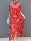 olcso Print Dresses-Női Extra méret Szabadság / Alkalmi Alap / Kínai Bő Swing Ruha - Nyomtatott, Virágos / Mértani Midi