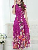 baratos Vestidos de Mulher-Mulheres Tamanhos Grandes Para Noite Algodão Bainha Vestido Floral Colarinho Chinês Médio