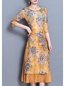 ieftine Rochii de Damă-Pentru femei Mărime Plus Size Zvelt Pantaloni - Floral Galben