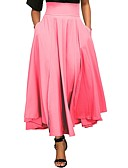 cheap Women's Skirts-Women's Basic Maxi Swing Skirts - Solid Colored High Waist