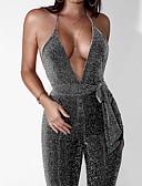 זול סרבלים ואוברולים לנשים-V עמוק אחיד - Rompers רזה בגדי ריקוד נשים / גב חשוף / סקסית