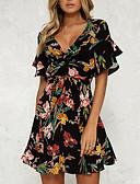 baratos Vestidos de Mulher-Mulheres Manga Alargamento Delgado Bainha Vestido - Estampado, Floral Decote V Cintura Alta Acima do Joelho Preto