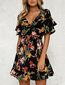 cheap Print Dresses-Women's Floral Daily Flare Sleeve Slim Sheath Dress - Floral Black, Print High Waist V Neck Summer Black L XL XXL / Sexy