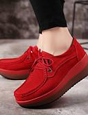 זול שמלות נשים-בגדי ריקוד נשים נעליים PU אביב / סתיו נוחות נעלי ספורט שטוח אפור / אדום / כחול