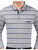 זול טישרטים לגופיות לגברים-פסים צווארון חולצה רזה בסיסי כותנה, טישרט - בגדי ריקוד גברים / שרוול ארוך