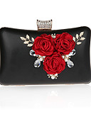 cheap Corsets-Women's Bags Polyester / PU Evening Bag Crystals / Flower Silver / Red / Fuchsia