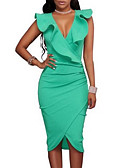 cheap Women's Dresses-Women's Going out Skinny Bodycon / Sheath Dress - Solid Colored High Waist Deep V / Summer / Ruffle