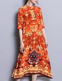 abordables Vestidos de Mujer-Mujer Tallas Grandes Seda Delgado Pantalones - Floral Naranja / Cuello Barco