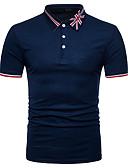 זול חולצות פולו לגברים-פסים / קולור בלוק צווארון חולצה סגנון רחוב Polo - בגדי ריקוד גברים טלאים שחור / שרוולים קצרים / קיץ