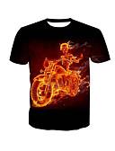 economico T-shirt e canotte da uomo-T-shirt Per uomo Essenziale Con stampe, Teschi Rotonda Nero XXXXL / Manica corta / Estate