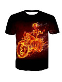 cheap Men's Shirts-Men's Basic T-shirt - Skull Print Round Neck / Short Sleeve / Summer