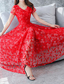 cheap Romantic Lace Dresses-Women's Plus Size Holiday Street chic / Sophisticated Slim Sheath Dress - Solid Colored Red, Lace V Neck