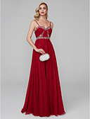 cheap Wedding Dresses-A-Line Spaghetti Strap Floor Length Crepe Open Back Cocktail Party / Prom / Formal Evening Dress with Beading / Ruffles by TS Couture®