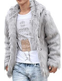 cheap Men's Jackets & Coats-Men's Basic Faux Fur Coat - Solid Colored / Long Sleeve