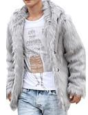 cheap Men's Jackets & Coats-Men's Elegant & Luxurious Fur Coat-Solid Color