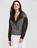 זול חולצות לנשים-משובץ צווארון נגלל סגנון רחוב יומי רגיל ג'קט בגדי ריקוד נשים, סתיו פוליאוריתן