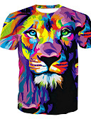 baratos Camisetas & Regatas Masculinas-Homens Camiseta Básico Estampado, Estampa Colorida / Animal Decote Redondo / Manga Curta