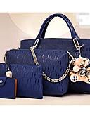baratos Vestidos de Coquetel-Mulheres Bolsas PU Conjuntos de saco Conjunto de bolsa de 4 pcs Urso Preto / Amarelo / Vinho