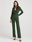 cheap Women's Jumpsuits & Rompers-Women's Club Holiday Street chic Jumpsuit - Solid Colored High Rise Wide Leg Deep V