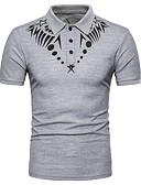 ieftine Tricou Bărbați-Bărbați Guler Cămașă Polo Zilnic / Muncă De Bază - Geometric / Manșon Lung / Zvelt