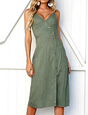 cheap Women's Dresses-Women's Basic Slim Sheath Dress - Solid Colored V Neck
