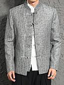 billige Eksotisk herreundertøy-Herre Daglig / Arbeid Store størrelser Normal Blazer, Ensfarget / Stripet Høy krage Langermet Polyester Overstørrelse Svart / Grå XL / XXL / XXXL / Tynn