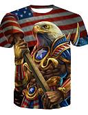ieftine Maieu & Tricouri Bărbați-Bărbați Rotund - Mărime Plus Size Tricou Bumbac De Bază - Animal / Manșon scurt / Lung