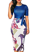 cheap Women's Dresses-Women's Slim Bodycon Dress - Floral Print / Summer / Floral Patterns
