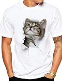 tanie Koszulki i tank topy męskie-Puszysta T-shirt Męskie Moda miejska, Nadruk Okrągły dekolt Zwierzę Kot / Krótki rękaw