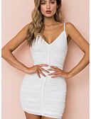 tanie Sukienki-Damskie Podstawowy Pochwa Sukienka - Solidne kolory, Nadruk Pasek Wysoka talia Nad kolano Biały / Seksowny