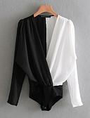 cheap Women's Blouses-Women's Going out Street chic Bodysuit - Color Block V Neck