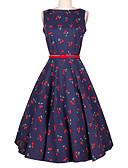 baratos Vestidos de Mulher-Mulheres Feriado Vintage Evasê Vestido - Estampado, Floral Altura dos Joelhos / Verão